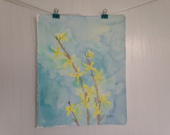 Yellow Flower Painting, Forsythia Watercolor Painting, Original Flower Painting, Flower Art, 8 x 10 inch original watercolor, Home Decor