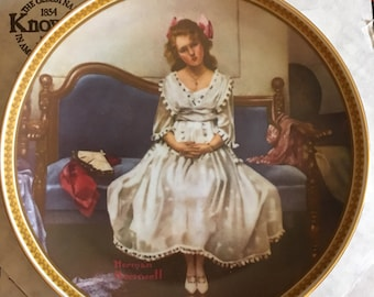 """Edwin Knowles Collector Plates - Norman Rockell Rediscovered Women series #5 """"Waiting At The Dance"""" 1983 CP22"""