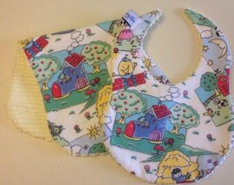 Sweet Nursery Rhyme and Chenille Baby Girl Boy Bib and Burp Pad Set