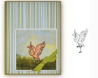Dancing Sandhill Crane UNMOUNTED bird rubber stamp, long legged bird, bird watchers journal stamp, bird lovers, Sweet Grass Stamps No.9