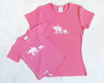 Mommy and Me T shirt Set with Elephants - Organic Cotton - Womens and Toddler T shirts - Pink