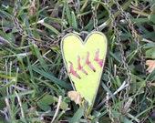 Softball seam stitch large heart pendant necklace long / short - silver, copper - softball mom gift, softball jewelry, softball player gift