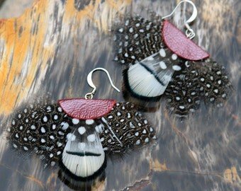 Feather Fan + Leather Earrings - black and white spotted, red leather- large lightweight earrings - Lady Amherst and Guinea