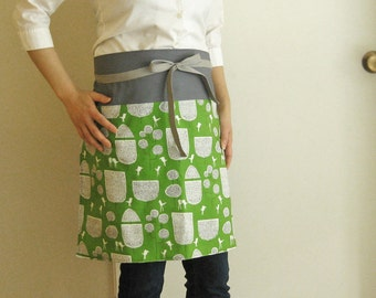 Reversible apron trees and birds on green / gray band, white polka dots on green. modern apron, kitchen, cooking, grey, white, green