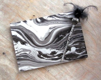 CUSTOM SIZE Wedding Guest Book, Coptic Grey Marble, unlined CUT black pages