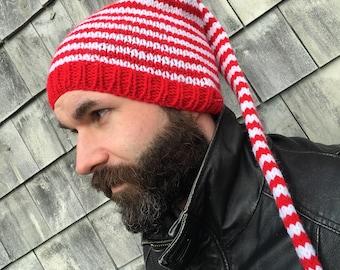 Kid Adult Hat KNiT SToCKiNG CaP Extra Long Tail PHoTo PRoP Christmas Red White Stripe LG Teen SaNTA ELF Cap SKi SKaTER ToQUE Choose Color