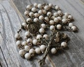 Natural Magnesite Rosary with Antiqued Copper Crucifix and Center (Fair Trade Beads)