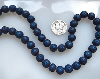 Lava Beads Metallic Blue Titanium 8mm Round, Half Strand