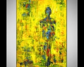 Yellow Art - ABSTRACT Expressionist Painting Contemporary Decor Art  - ORIGINAL Modern Artwork 60x40 by BenWill