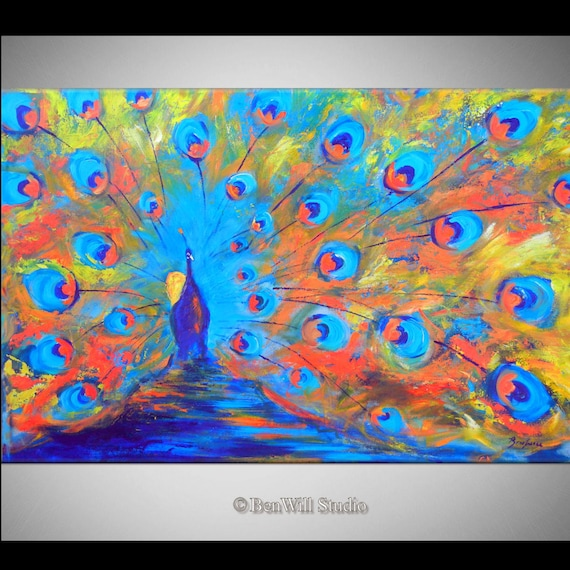 PEACOCK Art ORIGINAL Painting COLORFUL Large Modern Abstract Art, Ready to Hang 50x32 by BenWill