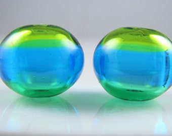 Triple Colors Hollow Lampwork Glass Bead Pairs