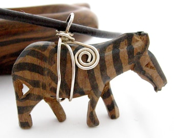 Carved Wood Zebra Necklace, 16 Inches, Silver Wire Wrapped, Vintage Animal Pendant, Kitch Animal Jewelry, African Animal, Safari, Tribal