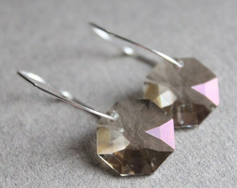 Swarovski Crystal Octagon Earrings - Sterling Silver