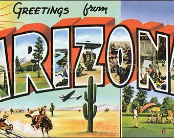 Retro Arizona Big Letter Post Card Fabric Applique, Arizona Cotton Fabric Quilt Block, Crazy Quilt Panel, Art Quilts, Sewing, Craft Projects