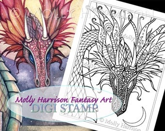 Dragon's Perch - Digital Stamp - Printable - Adult Coloring Page - Molly Harrison Fantasy Art - Digistamp Coloring Page - 8.5 x 11