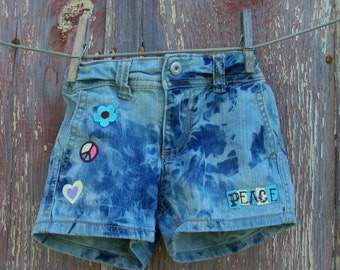 Child Size 4 Bleached Denim Shorts with Peace Appliques