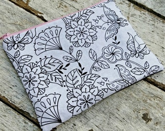 Color Your Own Zipper Pouch Makeup Bag, flowers and butterflies.