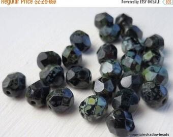 25% OFF Summer Sale Czech Glass Beads 6mm Beads Opaque Jet Picasso 25 (G - 69)