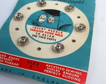 Vintage Silver Rustless Metal Snap Fasteners - Size 1 - Craft Supplies