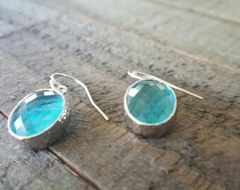 Sea Green Earrings, Sterling Silver Earrings, Bridal Jewelry