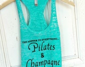 Pilates Tank Top | Inspirational Workout Top | Pilates and Champagne Tank Top | Crossfit Tops | Cute Racerback Tank Tops | Pilates Clothes