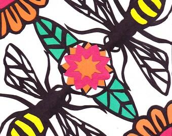 """Abejas - original papercut, 6"""" x 6"""""""