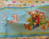 RARE Daisy Kingdom Blue Jean Teddy 1 2 3 Boarder fabric Cotton Print Fabric