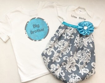BOUTIQUE Sibling set..grey Damask baby GOWN... and big brother SHIRT..children's clothing.. new baby