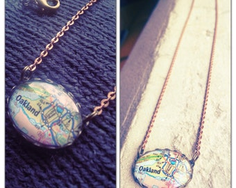 Oakland California Map Necklace // collectable vintage style map necklace - Glass oval Map Jewelry - Berkeley - Piedmont - Alameda