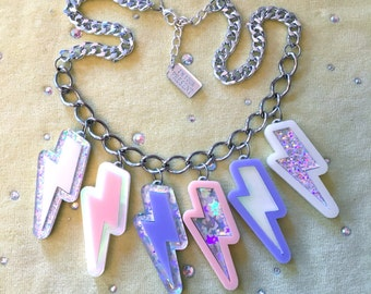 Pastel and silver Glitter Lightning Bolts Laser Cut Arcylic Charm Necklace