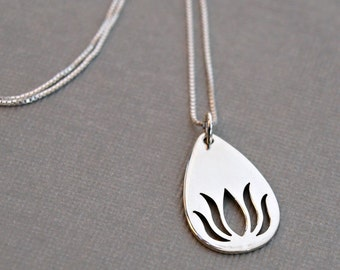 Lotus Necklace , Sterling Silver Lotus Flower Necklace , Lotus Charm , Sterling Silver Pendant Necklace , Yoga Jewelry