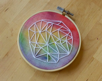 "4"" Hoop Art, Watercolor Embroidery 005"