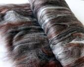 Carded Batt Merino & Silk Chocolate Truffle Fine Merino Wool  for Spinning or Felting 50g 100g
