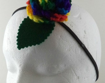 Crocheted Rose Headband - Rainbow Rose (SWG-HH-RB03)