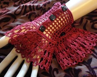 Burgundy Steampunk Victorian Gothic Crochet Lace Wrist Cuffs Victorian Mourning
