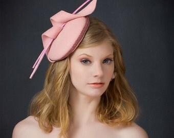 Swirl-Pink Fascinator-Pink Hat-Pink Fur Felt Hat