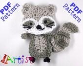 Raccoon Crochet Applique Pattern