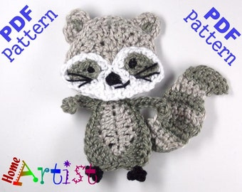 Raccoon Crochet Applique Pattern