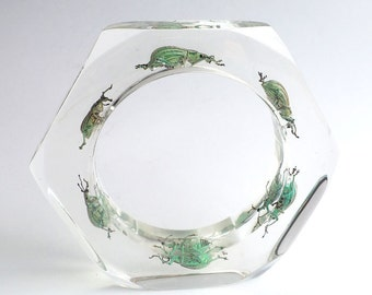 Beautiful transparent lucite bracelet with real beetles