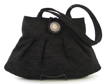 black handbag, shoulder bag, retro bag, small tote bag, black purse, fabric bag, tapestry purse, black chenille purse