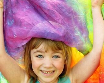 """Rainbow Playsilk, Tie Dye Playsilk, Playsilk, Waldorf Toy, Natural Toy, Large Playsilk, 35""""x35"""" playsilk, Silk Scarf, Square Scarf"""