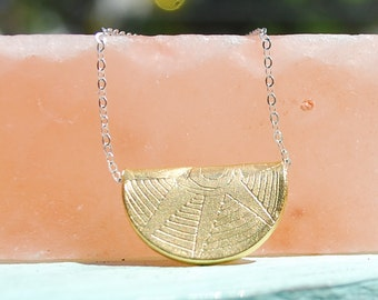 Sun Goddess - necklace handcrafted and carved by artisan Chocolate and Steel 14kt gold vermeil shield pendant carved triangle arrow
