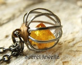 Raw Citrine Necklace, Crystal Cage Pendant, Birthstone Necklace, Quartz Crystal Citrine, Cage Pendant, Raw Gemstone Jewelry