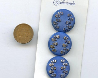 """1950s glass buttons Set (3) Royal BLUE glass buttons gold luster flowers New Old Stock Original Vintage 7/8"""" size 2815 MORE AVAILABLE"""