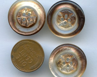 "Mother of Pearl Buttons Shell CARVED Vintage Matching set of (3) 7/8"" inch size 1906"