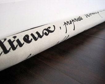 SCRIPT door draft stopper, draft snake, draught excluder, draft stopper / french script print
