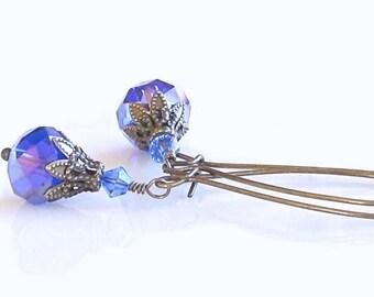 Sapphire Blue Czech Glass Beads Swarovski Crystals Brass Earrings Victorian Earrings Gift For Her Trending Earrings