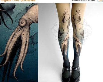 15%SALE/endsAUG30/ Closed Toe nude color one size Octopuses full length printed tights pantyhose