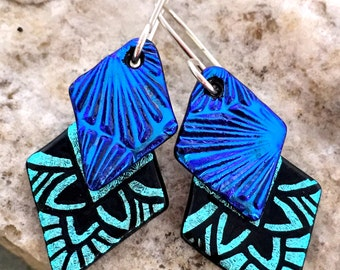 Blue & Turquoise Dichroic Glass Earrings..Hand Etched 'Double Dangle'