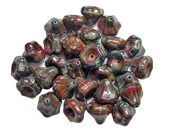 Czech Picasso Beads || 9x10mm Bronze Washed Rustic Red Bell Flower Beads 14pcs (5660) Czech Glass Beads